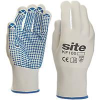 Site KF100 PVC Dot Gripper Gloves White Large