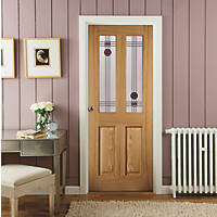 Jeld-Wen Mackintosh 2-Semi-Translucent Light Unfinished Oak Veneer Wooden 4-Panel Internal Door 1981 x 686mm