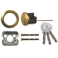YALE REPLACEMENT RIM CYLINDER WITH 2 KEYS NEW POLISHED BRASS