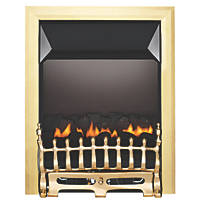 Focal Point Blenheim Brass Rotary Control Gas Inset Flueless Fire