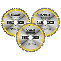 DeWalt Construction Circular Saw Blade 216 x 30mm 24 / 40T 3 Pack