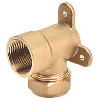 "Flomasta SFU_0283 Brass Compression Adapting 90° Wall Plate Elbow 22mm x ¾"""