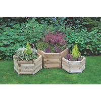 Forest Hexagonal York Planter Set Natural Wood 520 x 600 x 330mm 3 Pieces
