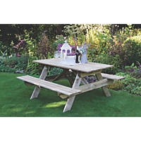Forest Small Rectangular Garden Picnic Table 1500 x 1500 x 700mm