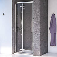 Aqualux Edge 8 Bi-Fold Shower Door Polished Silver 800 x 2000mm