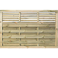 Rowlinson Langham Double-Slatted Open-Bar Top Fence Panel 6 x 4' Pack of 3