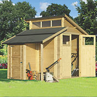 "Rowlinson  9' 6"" x 6' 6"" (Nominal) Skylight Tongue & Groove Timber Shed with Store"