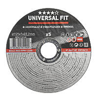 "Stainless Steel Inox / Metal Cutting Discs 5"" (125mm) x 1 x 22.2mm 5 Pack"