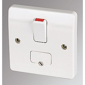 MK 13A DP Switched Fused Connection Unit with Flex Outlet White   Switches   Sockets   Screwfix