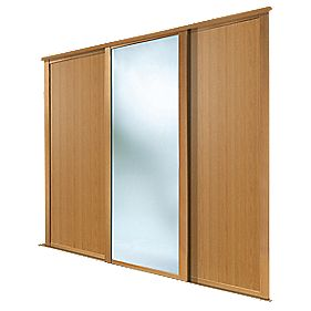 Spacepro Shaker 3 Door Sliding Wardrobe Doors Oak Mirror