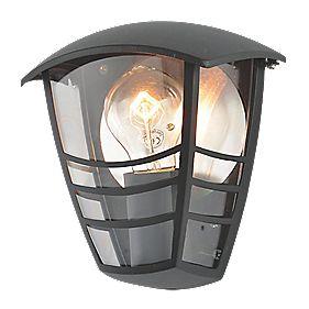 Zinc Perdita Black Half Wall Lantern 60w Outdoor Wall Lights