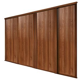 Spacepro Shaker 4 Door Panel Sliding Wardrobe Doors Walnut