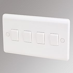 LAP 4-Gang 2-Way 10AX Light Switch White | Switches & Sockets ...