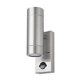 Lap Bronx Stainless Steel Gu10 Pir Up Amp Down Wall Light Outdoor Wall Lights Screwfix Com