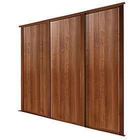 Spacepro 3 Door Panel Sliding Wardrobe Doors Walnut 1780 X