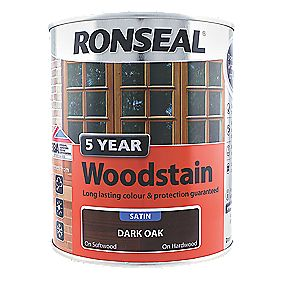 Ronseal Exterior 5 Year Wood Stain Satin Dark Oak 750ml Wood Stain