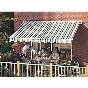 Greenhurst Ascot Extendable Patio Awning Green Beige 2 5