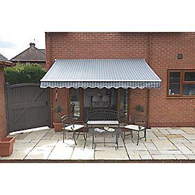 greenhurst berkeley patio awning grey white 2 5 x 2m. Black Bedroom Furniture Sets. Home Design Ideas
