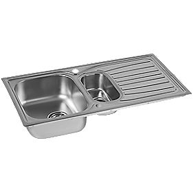 Astracast Alto Kitchen Sink Stainless Steel 1 5 Bowl 980 X 510mm Sinks Screwfix Com