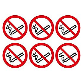 No Smoking Symbol Adhesive Labels 100mm 230 X 330mm 30 Pack Safety Labels