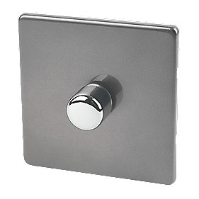 Lap 4 Gang 1 Way 250 Watt Dimmer Switch Brushed Chrome Low Profile