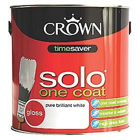 Crown Solo One Coat Gloss Paint Pure Brilliant White 2 5ltr Gloss Paints