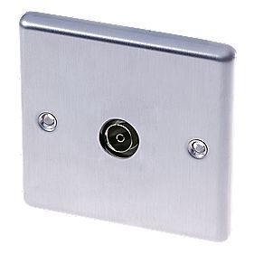 Lap Coaxial Tv Socket Brushed Stainless Steel Switches
