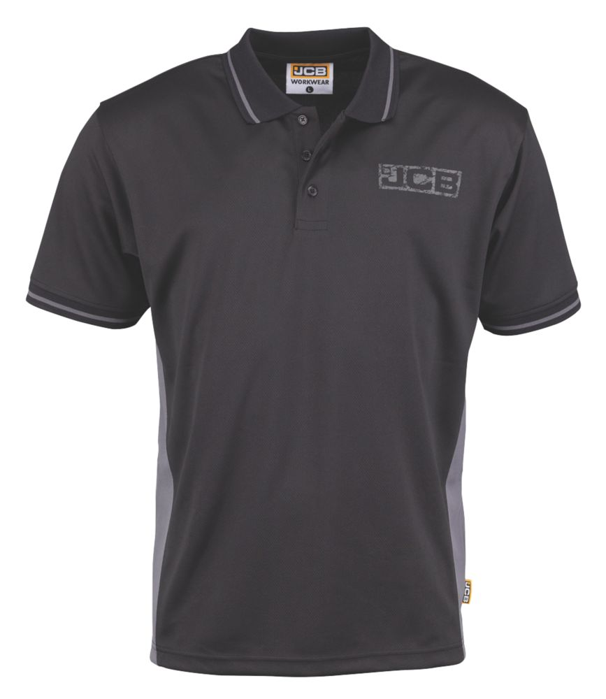 "JCB Trade Polo Shirt Black / Grey Large 42"" Chest"