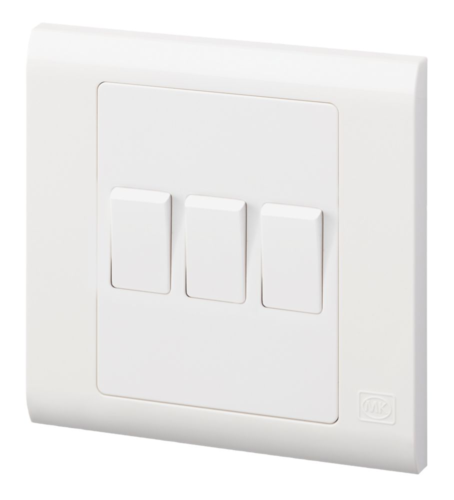 MK Essentials 13A 3-Gang 2-Way Light Switch  White with White Inserts