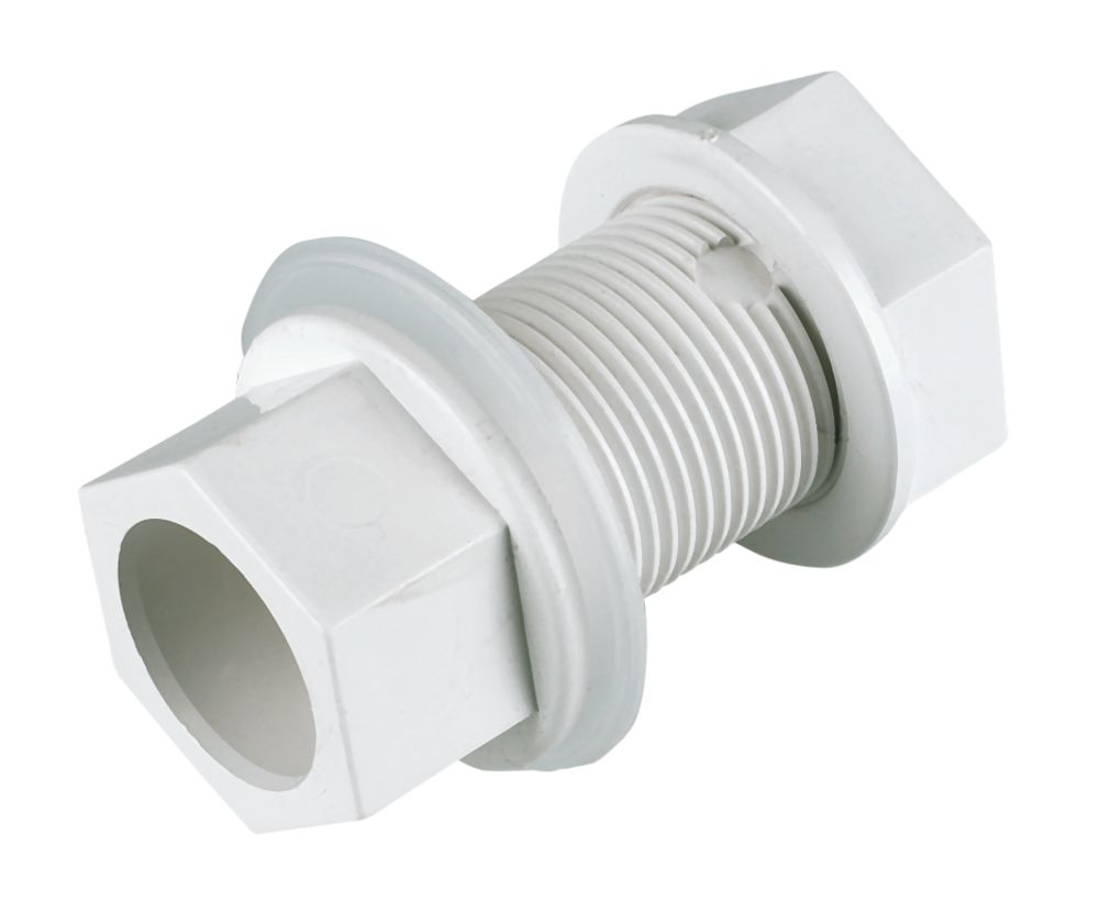 FloPlast Straight Tank Connectors White 21.5mm 5 Pack