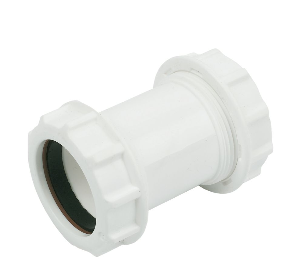 FloPlast WC08 Universal Compression Waste Straight Coupler White 40mm x 40mm