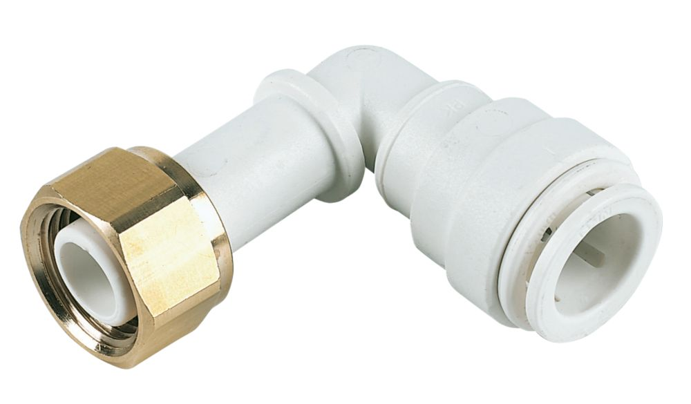 """JG Speedfit  Plastic Push-Fit Angled Tap Connector 15mm x ½"""""""