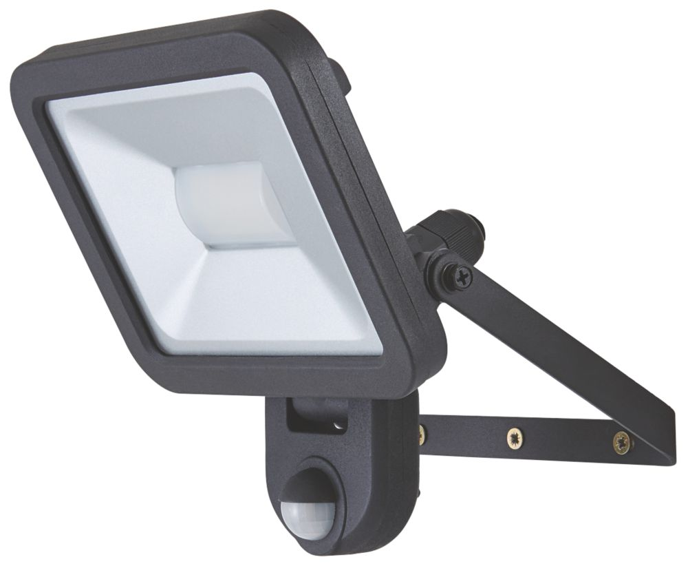 LAP  LED PIR Floodlight Black 20W Daylight
