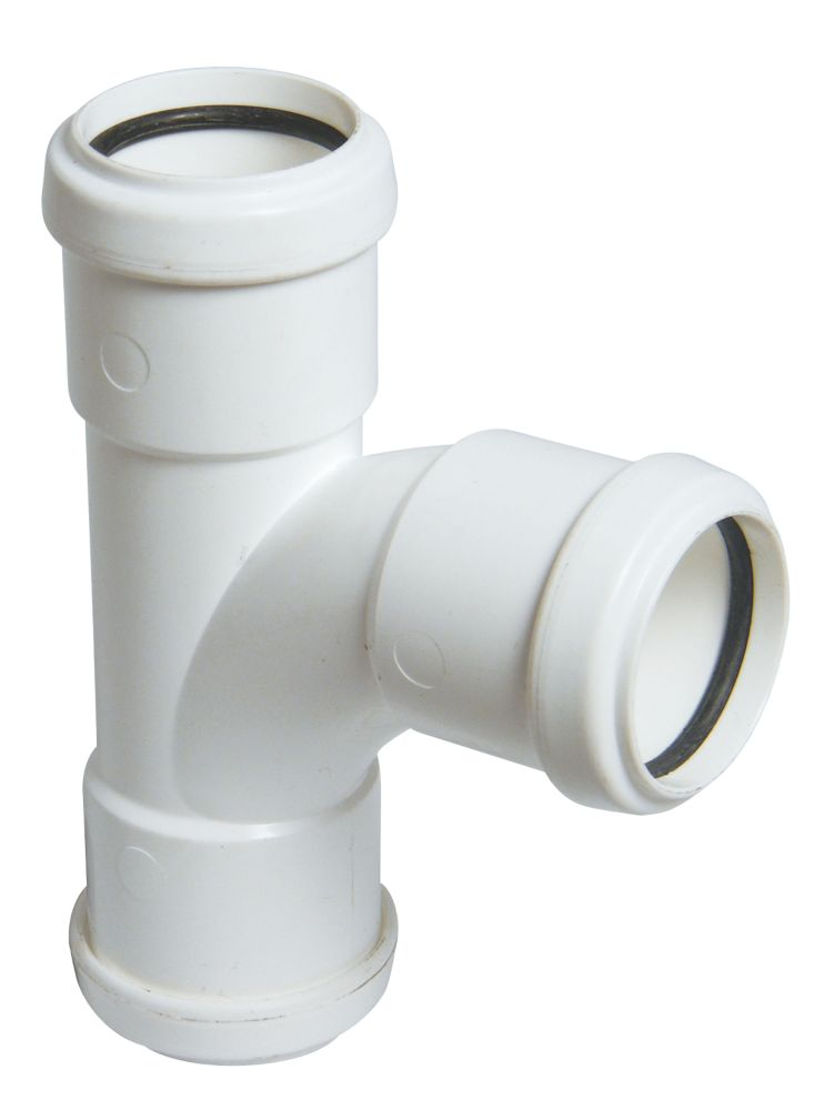 FloPlast Push-Fit Equal Tee White 92.5 (87.5)° 32mm
