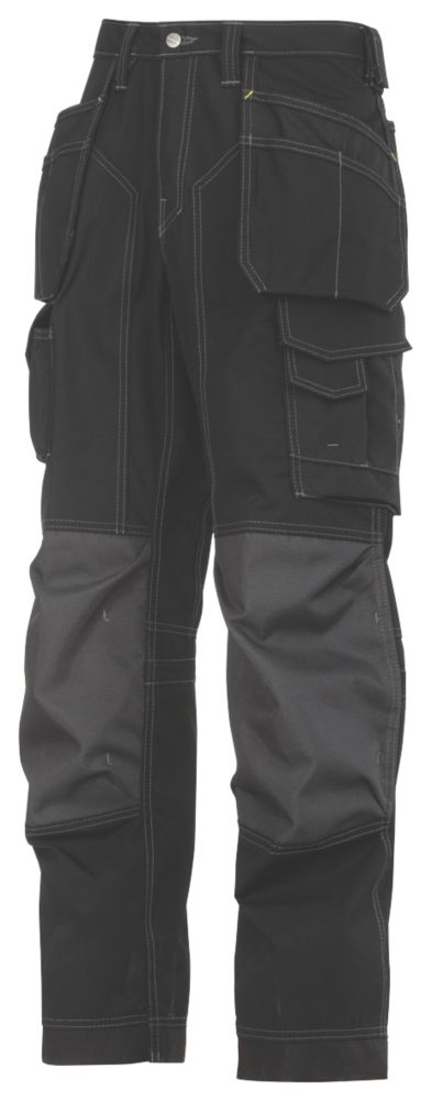 """Snickers 3223 Floorlayer Trousers Black 35"""" W 32"""" L"""