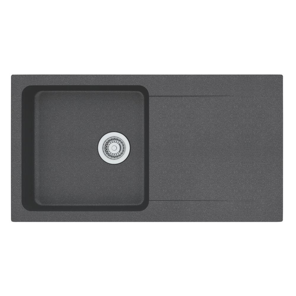 Franke Orion Tectonite Inset Kitchen Sink Black 1 Bowl Reversible 940 x 510mm