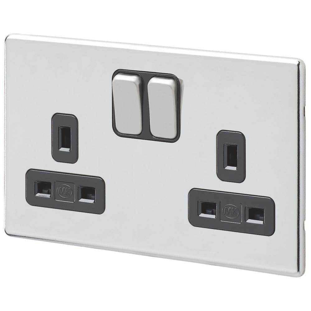MK Aspect 13A 2-Gang DP Switched Plug Socket Polished Chrome  with Black Inserts