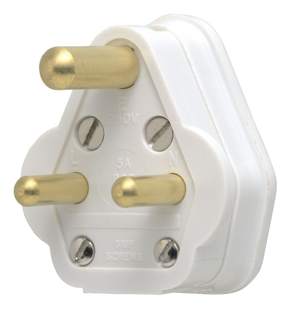 MK  5A Unfused Round Pin Plug White