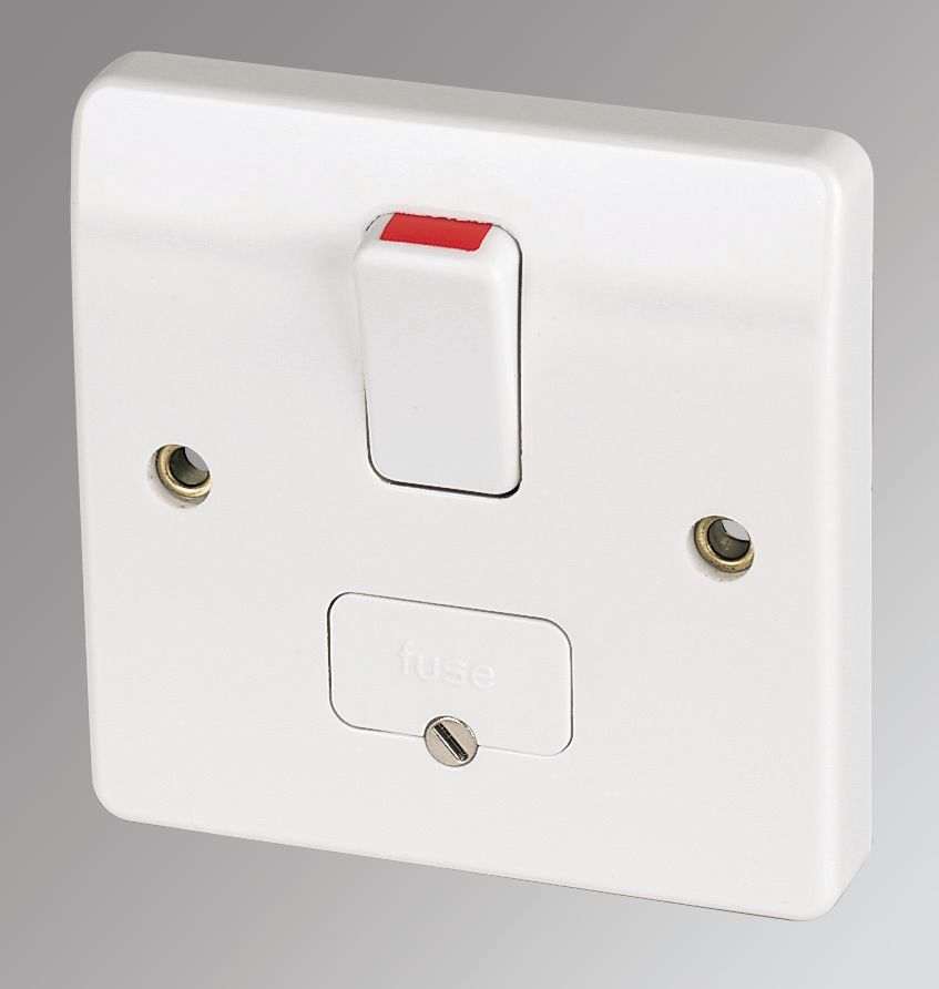 MK Logic Plus 13A Switched Fused Spur & Flex Outlet  White