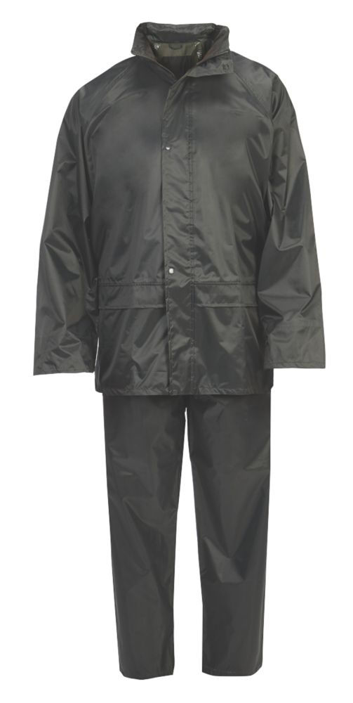 """Hooded 2-Piece Rain Suit Green Large 54"""" Chest"""