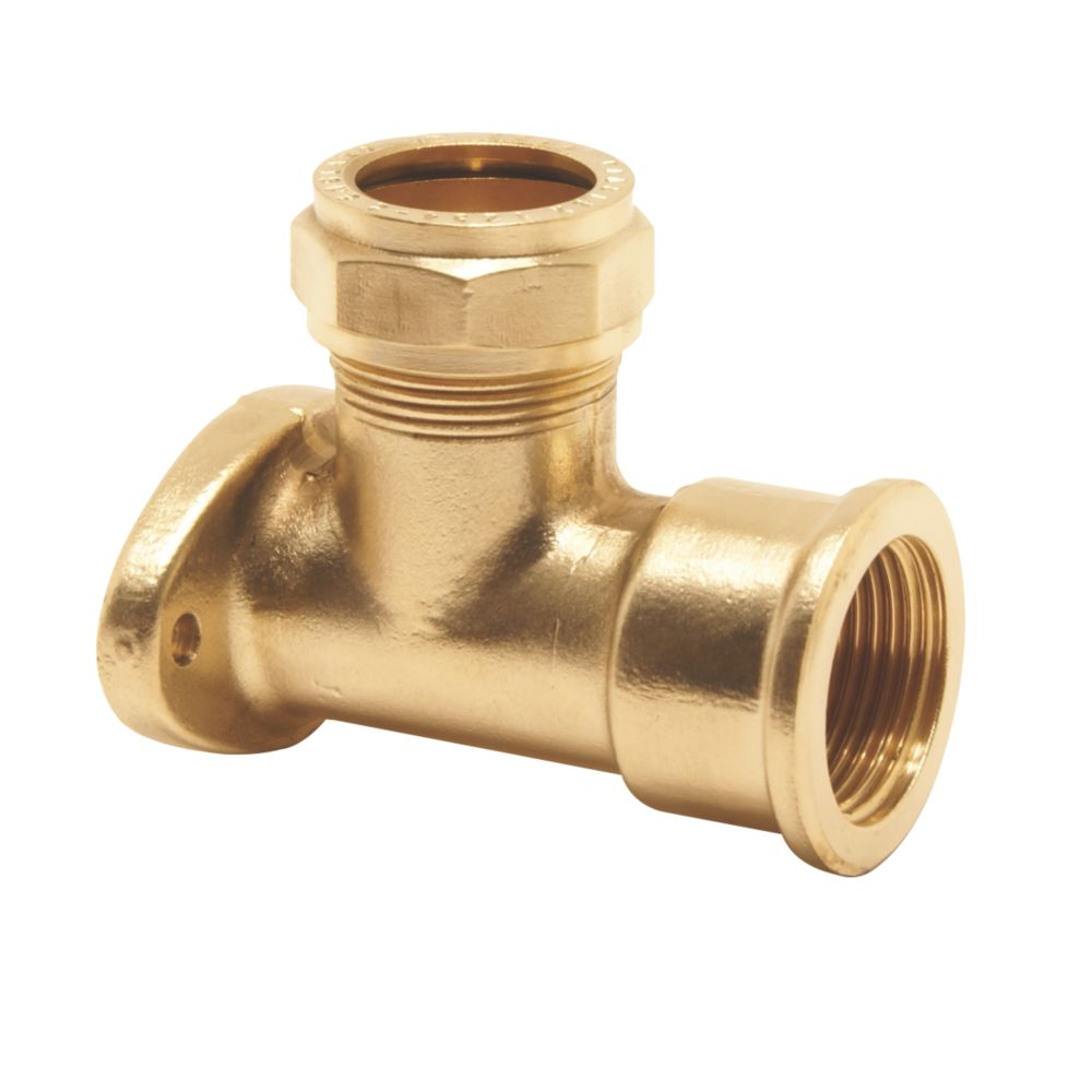 """Pegler PX58X Brass Compression Adapting 90° Wall Plate Elbow 15mm x ½"""""""