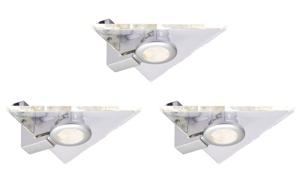 Aether Triangular LED Cabinet Light Silver / Clear 7.5W 480lm 220-240V 3 Pack