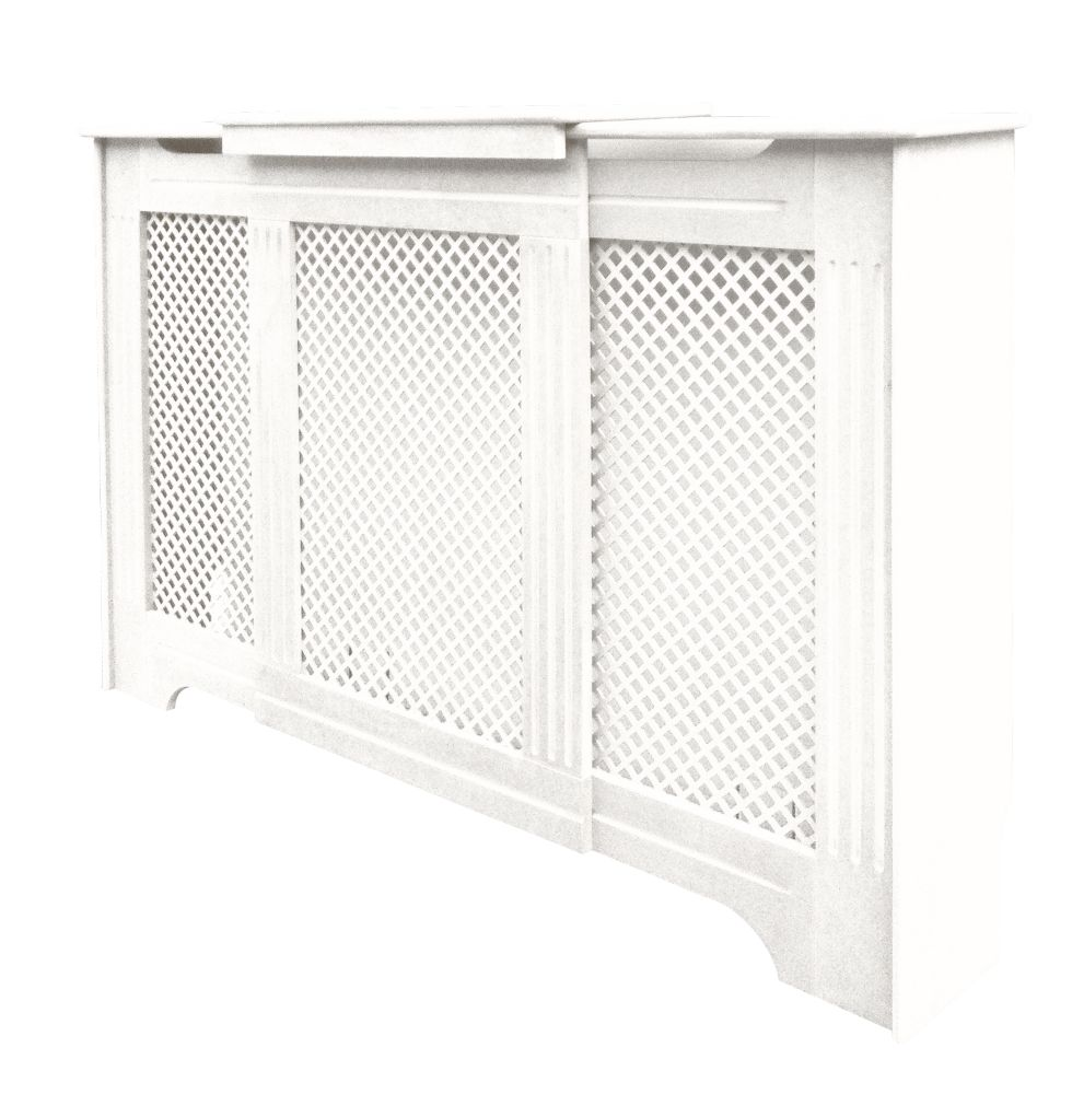 Victorian Adjustable Radiator Cover White 970-1420 x 235 x 936mm