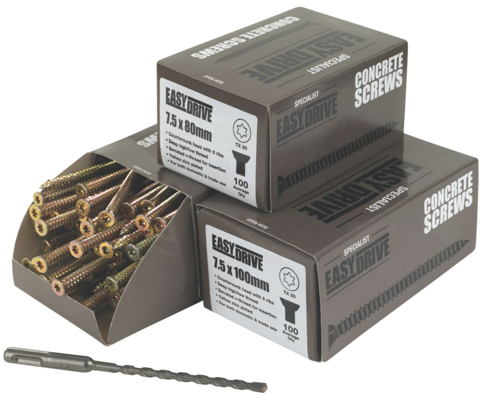 Easydrive TX Countersunk Concrete Screws Trade Pack 300 Pcs