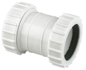 FloPlast WC07 Universal Compression Waste Straight Coupler White 32mm x 32mm