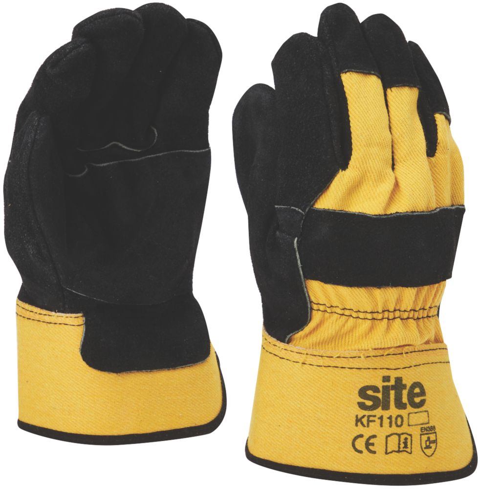 Site KF110 Premium Rigger Gloves Yellow / Black Large