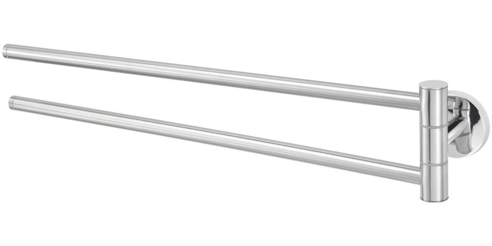 Cooke & Lewis Charm Twin Towel Rail Chrome 470 x 59 x 93mm