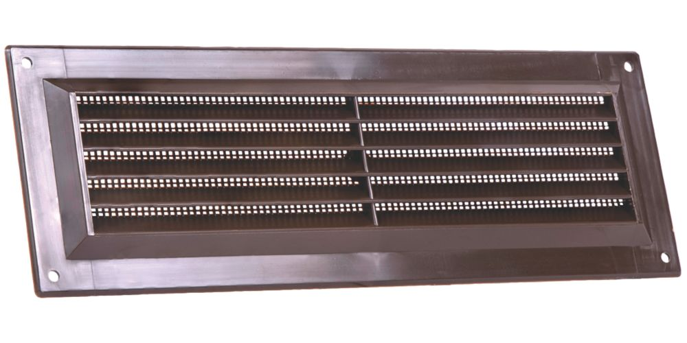 Map Vent Fixed Louvre Vent with Flyscreen Brown 229 x 76mm