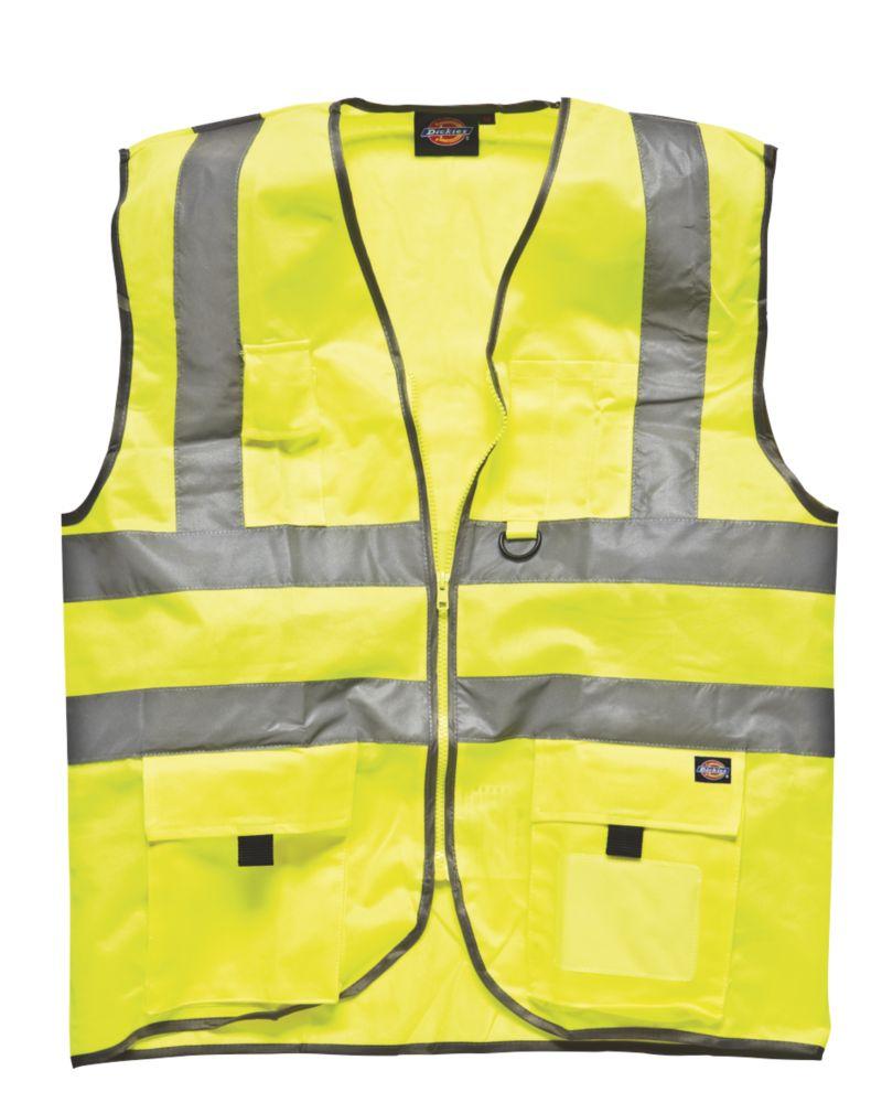 "Dickies  Hi-Vis Waistcoat Saturn Yellow Large 46"" Chest"