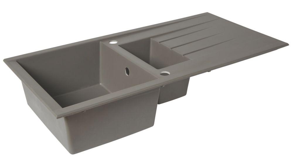 Plastic & Resin Kitchen Sink & Drainer Grey 1.5 Bowl Reversible 1000 x 500mm